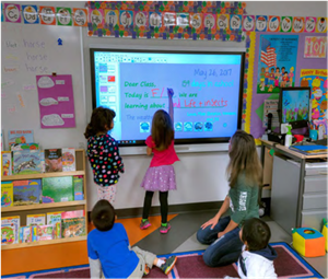 Students using interactive whiteboard