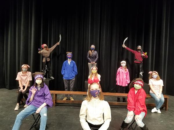 Haslett Middle School students rehearsing for school play.