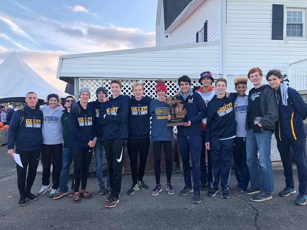 The Haslett varsity boys cross country team.