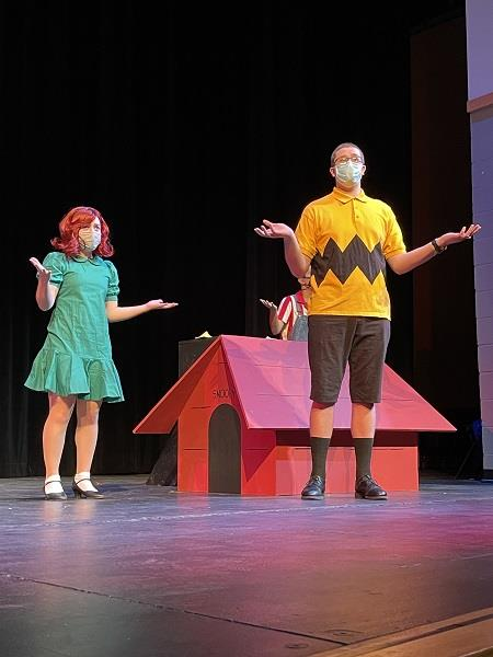 Peppermint Patty and Charlie Brown rehearse/