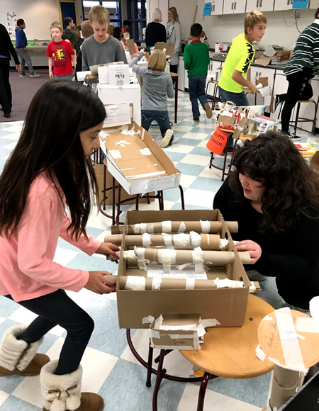 Murphy students show off their cardboard project