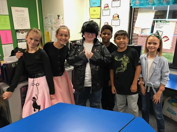 Murphy students in costume for the rock 'n roll performance.
