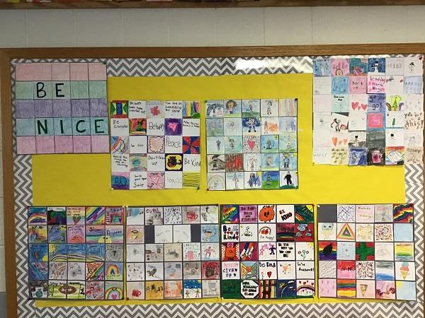 A Be Nice quilt made by Murphy Elementary students.
