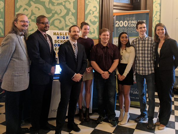 Haslett High School Students are pictured with Michigan Lieutenant Governor Brian Calley at the State Capitol.